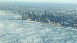 Chicago skyline frozen