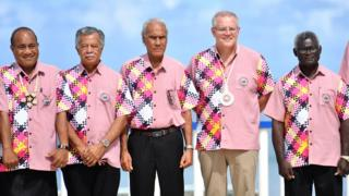 Kiribati's President Taneti Maamau, Cook Islands Prime Minister Henry Puna, Tonga's Prime Minister Akilisi Pohiva, Australia's Prime Minister Scott Morrison and Solomon Islands Prime Minister Manasseh Sogavare pose for a group photo at the Pacific Islands Forum in 2019