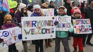 Kanada'da göçmenlik yanlısı düzenlenen bir eylemden