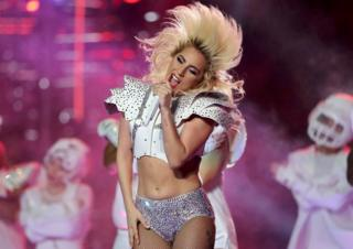 Singer Lady Gaga performs during the halftime show at Super Bowl