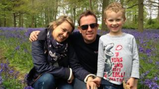 Simon Thomas, centre, with Gemma and Ethan