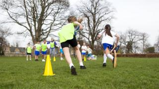 Children running during PE lesson