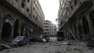 Douma in Ghouta after air strikes on 13 December 2015