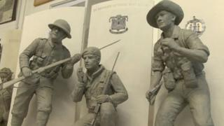 The models of the three bronze sculptures which will represent the Devonshire Regiment, the Dorset Regiment and the Devon and Dorsets