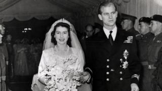 Princess Elizabeth and Prince Philip of Greece and Denmark on their wedding day