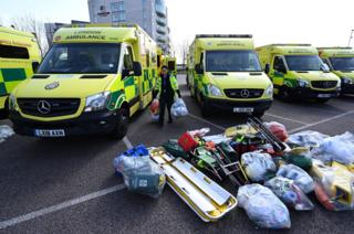 Ambulances seen parked outside the NHS Nightingale Hospital