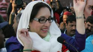 Benazir Bhutto at an election rally in Rawalpindi on the day of her death