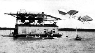 The Langley Aerodrome crashes into a river after a failed launch from a boat