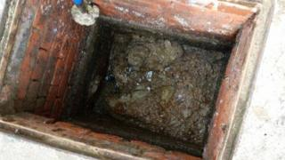 Blocked sewer in Welshpool