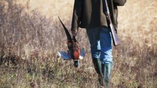A hunter carrying a pheasant