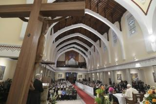 Pope Francis in Rabat's cathedral, Morocco, 31 March