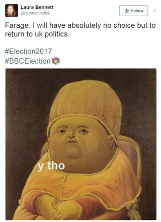 Meme, questioning why Farage has to return
