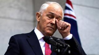Malcolm Turnbull rubs his eye