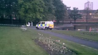 Police van at rape scene