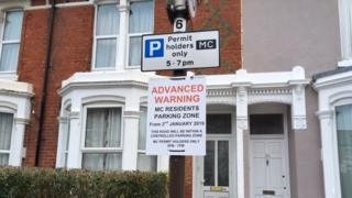 Southsea parking permit sign