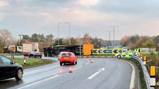 The overturned lorry on the A11 at Thetford
