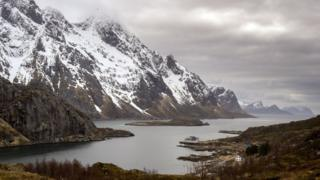 View taken on April 17, 2015 of a Fjord near Unstad beach, in the Lofoten Islands within the Arctic Circle