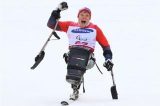 Jesper Pedersen of Norway celebrates victory in the Men's Giant Slalom Run
