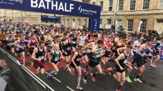Starting line at the 2020 Bath half marathon