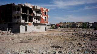 Badly damaged building in Cizre, Turkey - May 2016