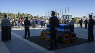 Coffin of Shimon Peres during memorial ceremony at the Knesset in Jerusalem, 29 September 2016