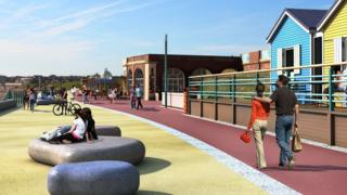 Artist's impressions showing the proposed new designs for Dukes Walk, Whitley Bay