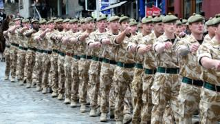 British soldiers march through the streets of Edinburgh