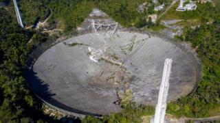 A damaged radio telescope in Puerto Rico.