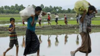 افراد من الروهينغا يفرون من العنف إلى بنغلاديش