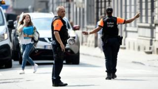 Belgian police on patrol in Liege after a deadly shooting