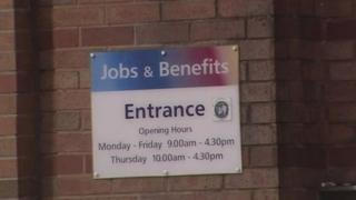 Benefits office sign