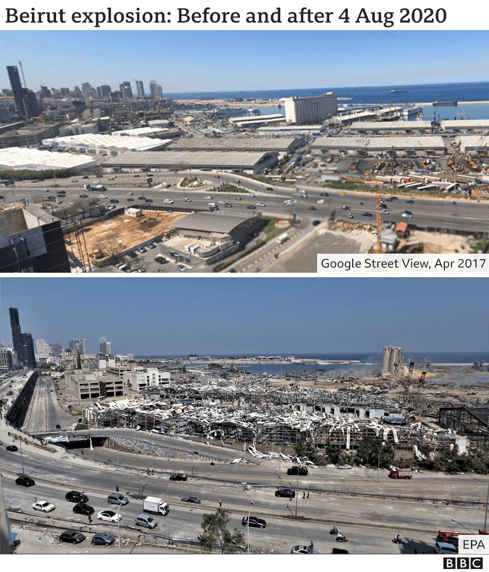 На фотографиях показан порт Бейрута до и после взрыва 4 августа 2020 г.