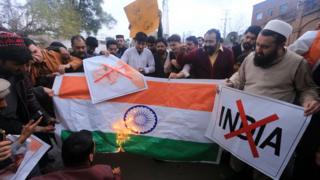 Hindistan bayrağı yakan protestocular