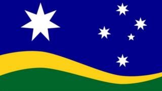 The Southern Horizon flag designed by Brett Moxey maintains the Federation Star and the Southern Cross, but includes the national colours of green and gold