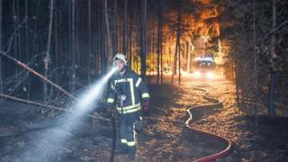 A fireman walks through a burned forest on 24 August in Klausdorf, north-eastern Germany
