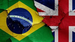 Bandeiras do Brasil e do Reino Unido