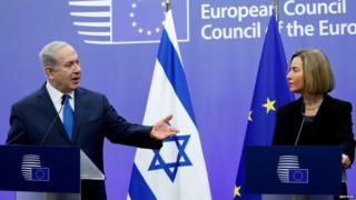 इसराइली प्रधानमंत्री बिन्यामिन नेतन्याहू और यूरोपीय संघ की विदेश नीति प्रमुख फ़ेडरिका मोगेरिनी