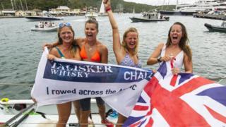 Four British female rowers reach Antigua