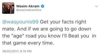 وسیم اکرم کی ٹویٹ کا عکس