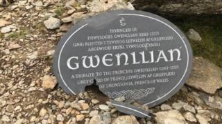 Broken plaque to Princess Gwenllian