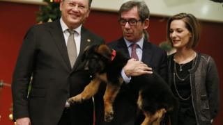 French Ambassador to Russia Jean-Maurice Ripert (C) and his wife Yael (R) with a German shepherd puppy dog named Dobrynya during a handover ceremony at the French embassy in Moscow (7 December 2015)