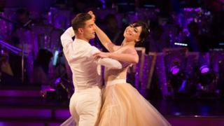 Daisy Lowe with dance partner Aljaz Skorjanec