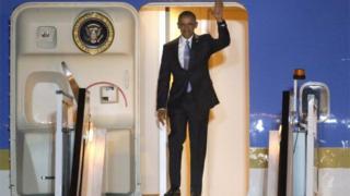 President Obama arrives at Stansted