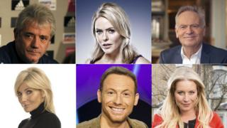 (L-R) Kevin Keegan, Patsy Kensit, Lord Jeffrey Archer, Michelle Collins, Joe Swash, Denise Van Outen