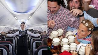 Una azafata da las instrucciones de seguridad antes del vuelo y una mesera alemana lleva nueve vasos de cerveza en sus manos en medio de una multitud.