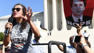 Ana Maria Archila protests outside the US Supreme Court