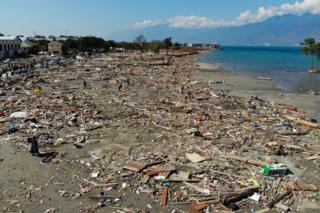 Debris litters the beach in Palu, Indonesia