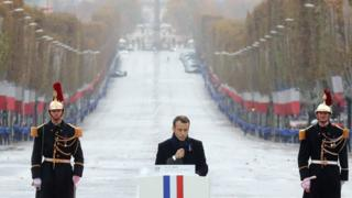 French President Emmanuel Macron delivers a speech