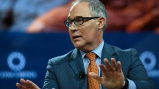 Scott Pruitt talks at an event in New York City.