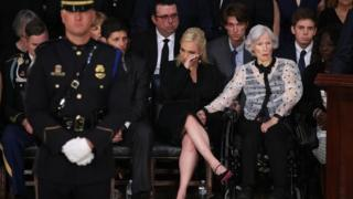 Roberta McCain (R), the mother of the late US Senator John McCain, and granddaughter Meghan McCain (C) at the US Capitol on 31 August 2018